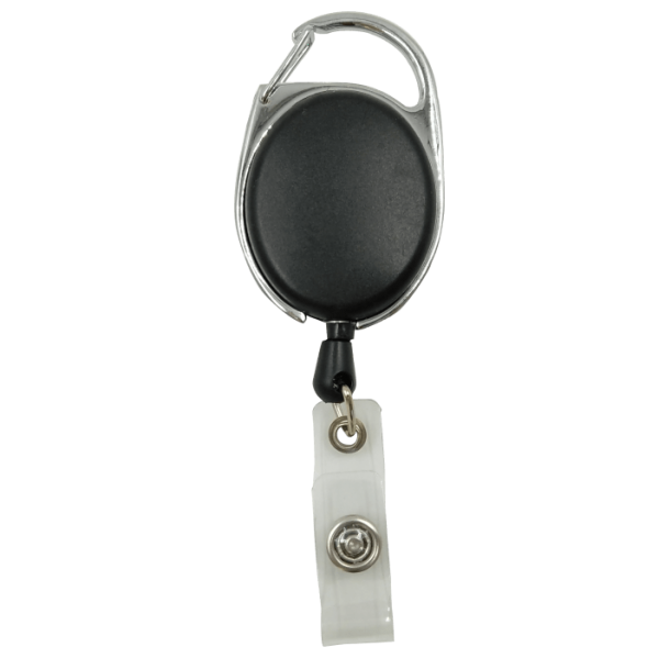 Black Plain Carabiner Badge Reel