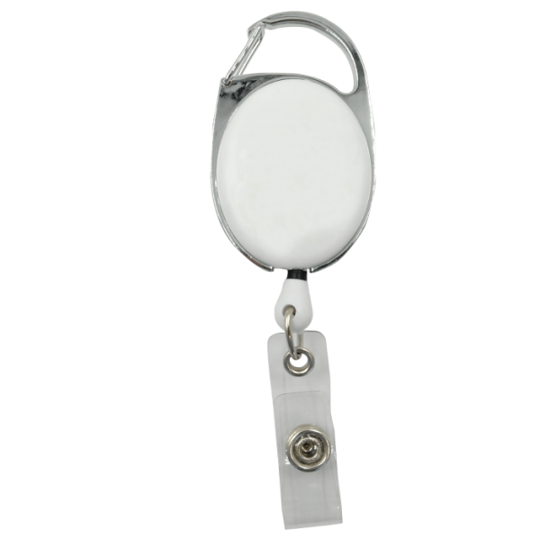 White Plain Carabiner Badge Reels