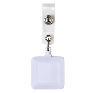 Square White Badge Reel
